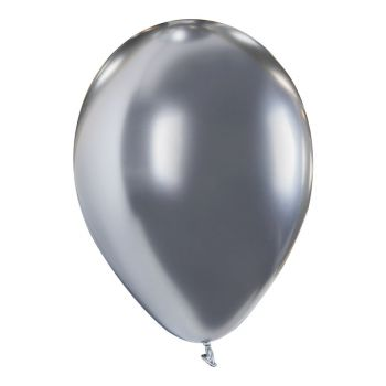 4 Ballons métal argent brillant Ø30cm
