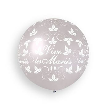 1 Ballon géant Vive les mariés argent Ø80cm