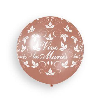 1 Ballon géant Vive les mariés gold rose Ø80cm