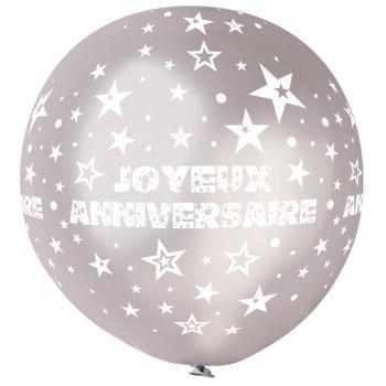 1 Ballon géant Joyeux Anniversaire argent Ø80cm
