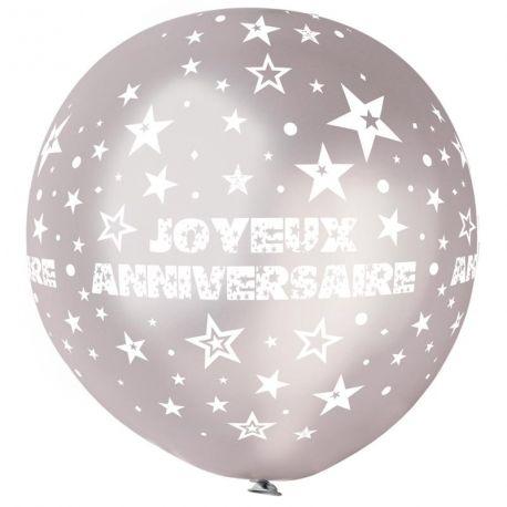 Ballon en latex géant de couleur argent avec impression et décors Joyeux Anniversaire imprimé en blanc Adapté pour un gonflage à...