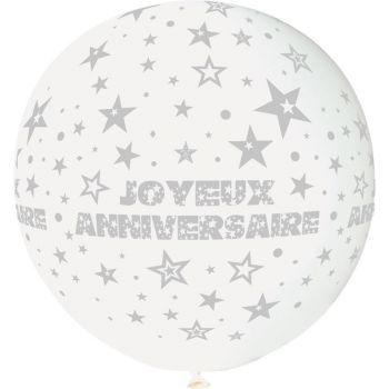 1 Ballon géant Joyeux Anniversaire blanc Ø80cm