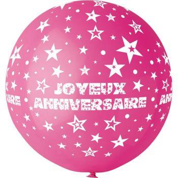 1 Ballon géant Joyeux Anniversaire fuchsia Ø80cm