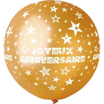 1 Ballon géant Joyeux Anniversaire or Ø80cm