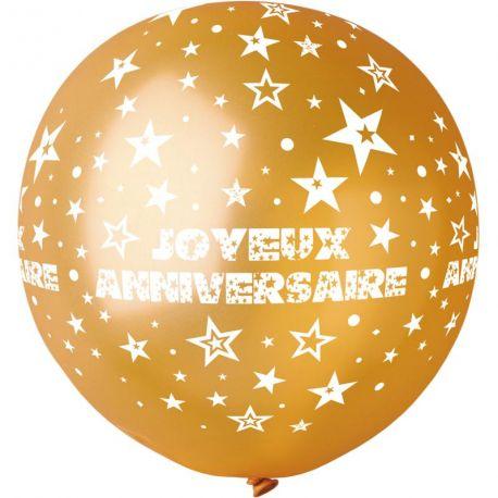 Ballon en latex géant de couleur or avec impression et décors Joyeux Anniversaire imprimé en blanc Adapté pour un gonflage à l'hélium Ø...