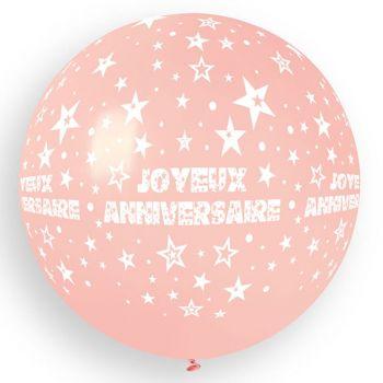 1 Ballon géant Joyeux Anniversaire rose bébé Ø80cm