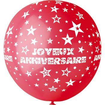 1 Ballon géant Joyeux Anniversaire rouge Ø80cm