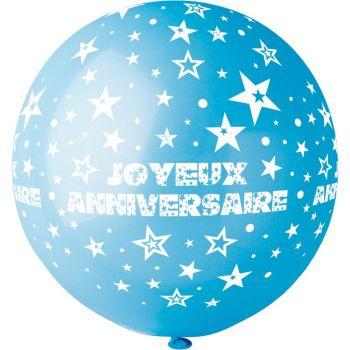 1 Ballon géant Joyeux Anniversaire bleu lagon Ø80cm