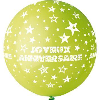 1 Ballon géant Joyeux Anniversaire vert anis Ø80cm