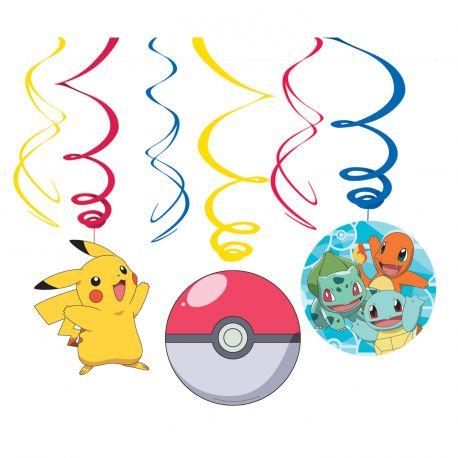 6 suspensions Pokemon pour réaliser la décoration d'une fête d'anniversaire Longueur: 61cm