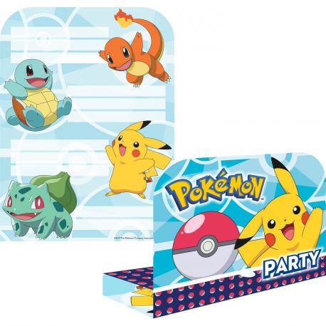 8 Cartes d'invitations + enveloppes pour anniversaire sur le thème Pokemon Dimensions: 21.5cm x 16cm