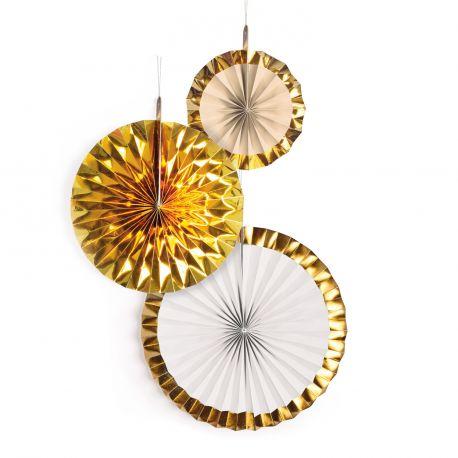 Assortiment de 3 suspensions éventail en papier dans les tons or avec bords métallisés pour une décoration de fête tendance Dimensions :...