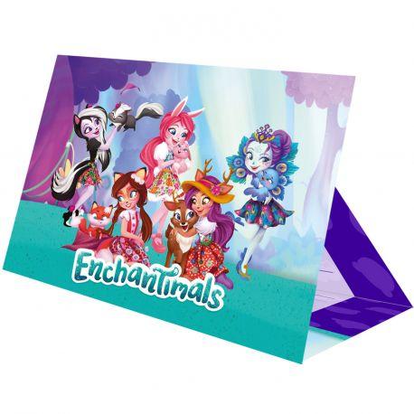 8 Cartes d'invitations + enveloppes pour anniversaire sur le thème Enchantimals Dimensions: 21.5cm x 16cm