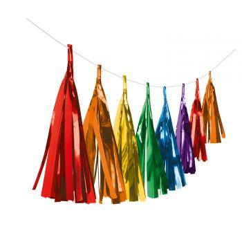Guirlande de pompons à franges papier métallisés rainbow