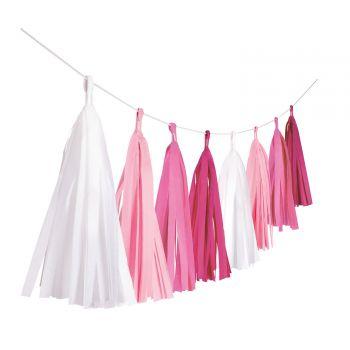 Guirlande de pompons à franges papier rose