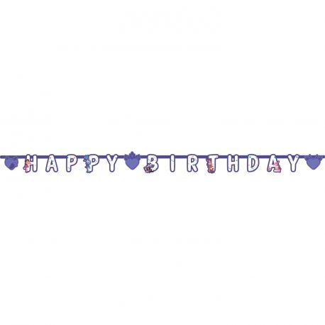 Banderole en carton Happy Birthday en cartonEnchantimals en pour la deco de table d'anniversaire de votre enfant Dimensions : 210cm x 13cm