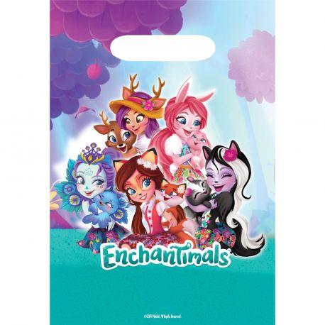 8 sachets de fête en plastiqueEnchantimals en pour la deco de table d'anniversaire de votre enfant Dimensions : 23.4cm x 16.2cm