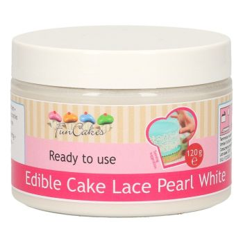 Pâte dentelle comestible blanc nacré Funcakes