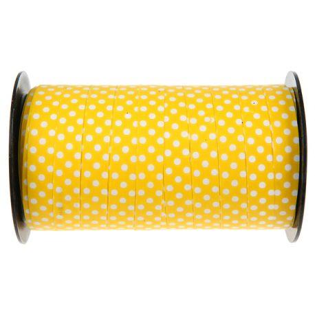 Bolduc en polypropylène jaune à pois blancDimensions : longueur 50Mètres x 10mm