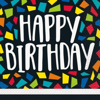 16 serviettes Happy Birthday mosaic