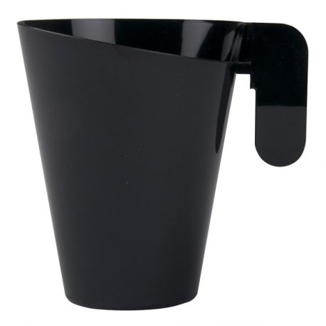 Paquet de 12 tasses à thé, cappucino ou café long design en plastique dur de couleur noireContenance: 15.cl