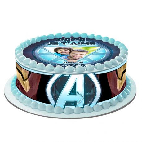 Kit décor en sucre Easycake Papa je t'aime pour réaliser un gâteau rond en 1 clin d'oeil !Prévu pour un gâteau d'un diamètre de 20...