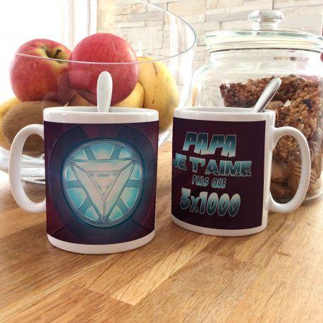 Magnifique mug Papa je t'aime plus que 3 x 1000 en céramique . Ce mug est un cadeau original à offrir.Compatible lave...