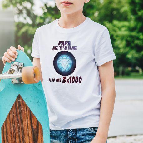Tee-shirt enfant unisex Papa Je t'aime plus que 3 x 1000.Matière 100 % polyester. Lavable en machine .