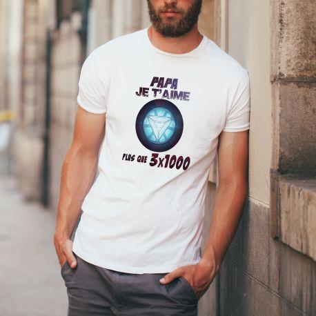 Tee shirt homme Papa Je t'aime plus que 3 fois 1000. Matière 100 % polyester.