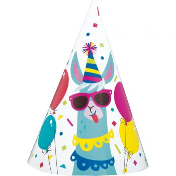 8 chapeaux de fête Lama Birthday