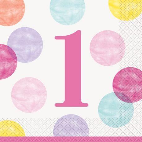Nappe en plastique 1 an pink dots idéal pour une décoration de table d'un 1er anniversaire Dimensions : 137cm x 213cm