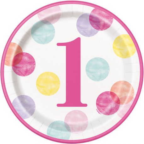 8 Assiettes en carton 1 an pink dots idéal pour une décoration de table d'un 1er anniversaireDimensions : Ø23cm