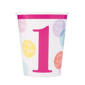 8 gobelets 1 an pink dots
