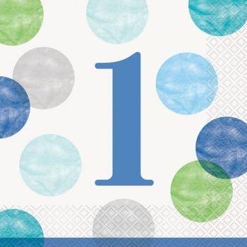 16 serviettes 1 an blue dots