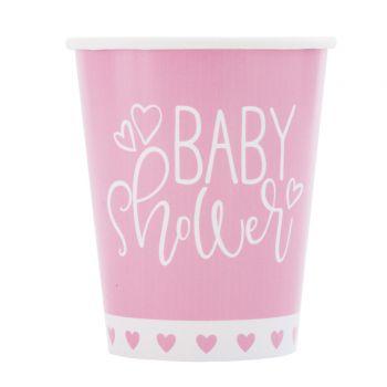 8 gobelets baby shower love rose