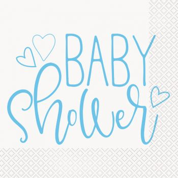 16 Serviettes papier baby shower love bleu