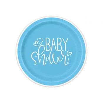 8 Assiettes dessert baby shower love bleu