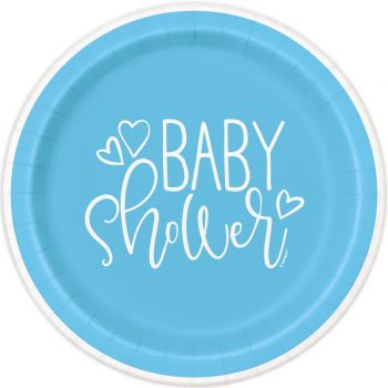 8 Assiettes baby shower love bleu