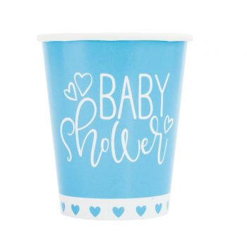 8 gobelets baby shower love bleu