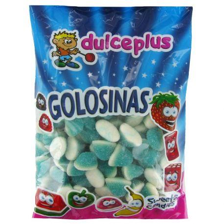 Bonbons mini bisou bleu de la marque Dulceplus. Bonbons gélifiées aux goût fruits enrobé de sucreFormat idéal pour remplir les...