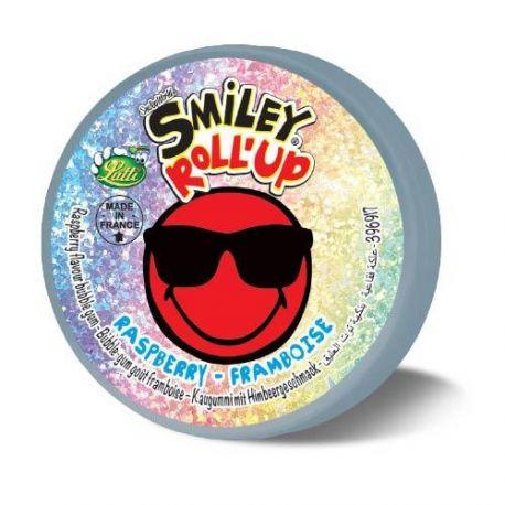Boite super fun et holographique à l'effigie des Smileys contenant un rouleau de chewing gum goût framboisePoids d'un roll-up:...