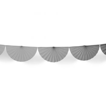 Guirlande d'éventails en papier gris