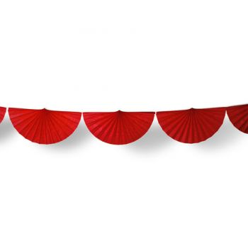 Guirlande d'éventails en papier rouge