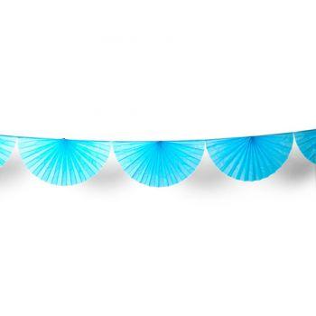 Guirlande d'éventails en papier turquoise