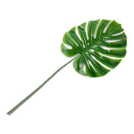 Feuille de palmier en plastique sur tige pour agrémenter une décoration de fête tropicaleDimensions d'une feuille: 34 x 33cm longueur...
