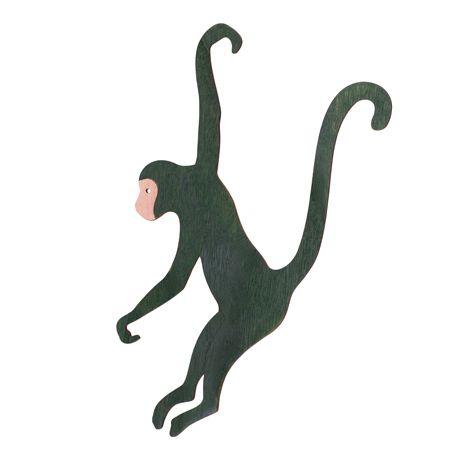 Superbe singe en bois à suspendre de couleur vert foncé pour une fête sur le thème de la jungle.Mixer des singes en bois avec du...