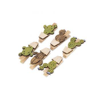 6 Pinces cactus doré et vert en bois