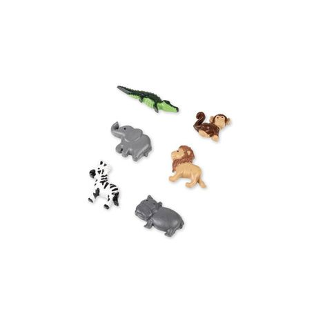 6 animaux de la jungle assortis adhésifs en résine pour une décoration de table de fête sur le thème de la jungle.Dimensions: 2.5cm...