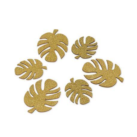 Feuilles tropicales en bois or pailleté pour une belle décoration de tableDimensions: 3 fois 6 x 4.7cm et 3 fois 8 x 6cm