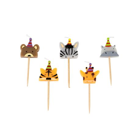 Assortiment de 5 bougies pics pour une décoration de gâteau d'anniversaire sur le thème de la jungle.Dimensions: 2.5cm x 2.5cm